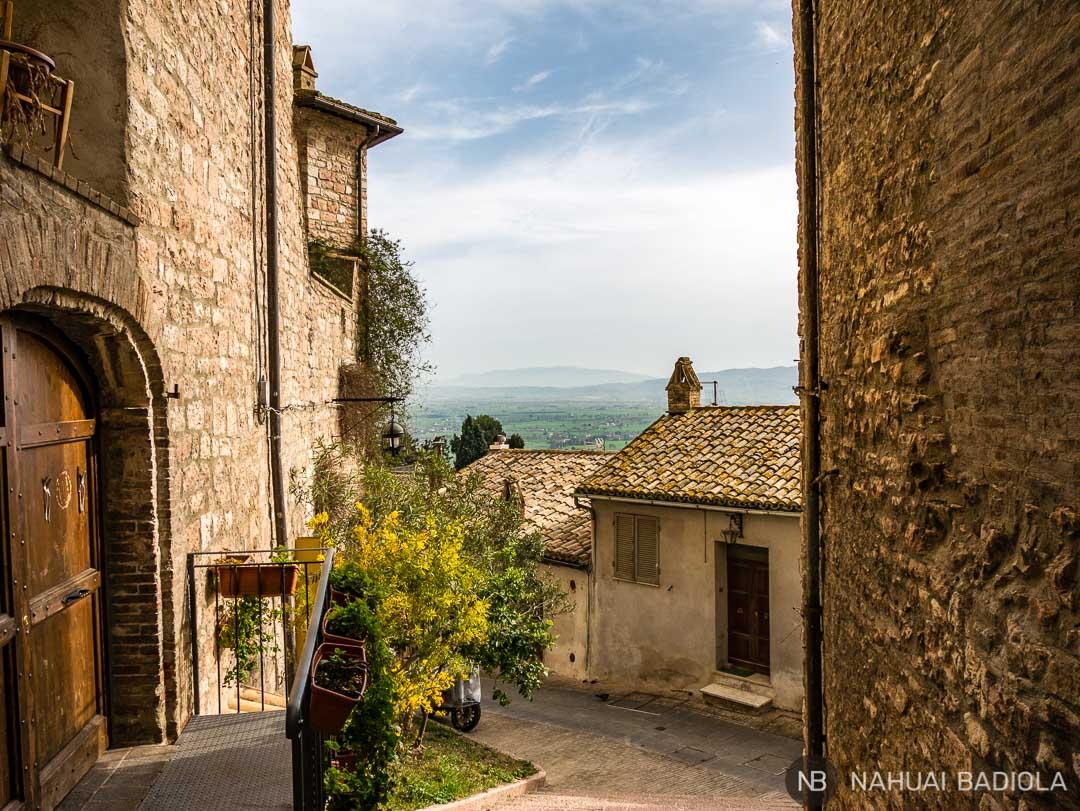 Vistas desde las calles de Asis, Umbria