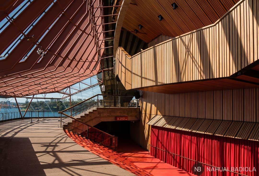 Pasillos interiores de la Opera House en Sidney