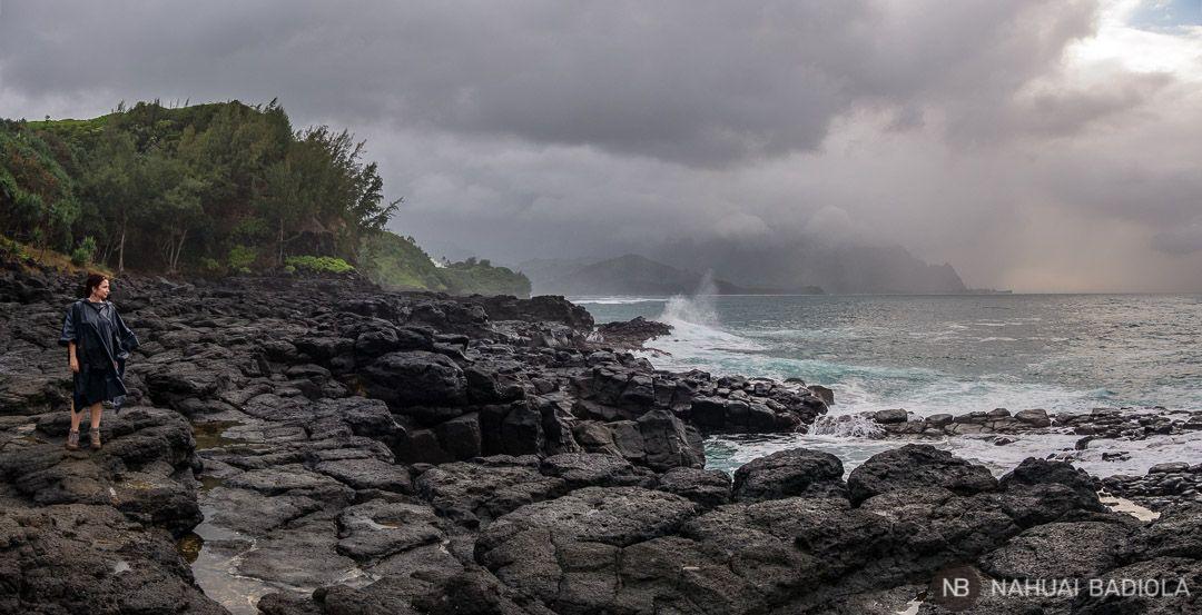 La costa rocosa donde se encuentra el Queen's Bath, Kauai