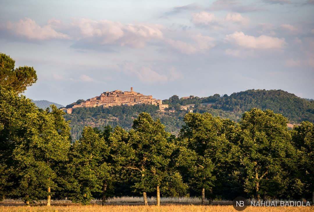 Vistas del pueblo medieval de Chiusdino, en la Toscana, desde la abadía sin techo de San Galgano. Italia.