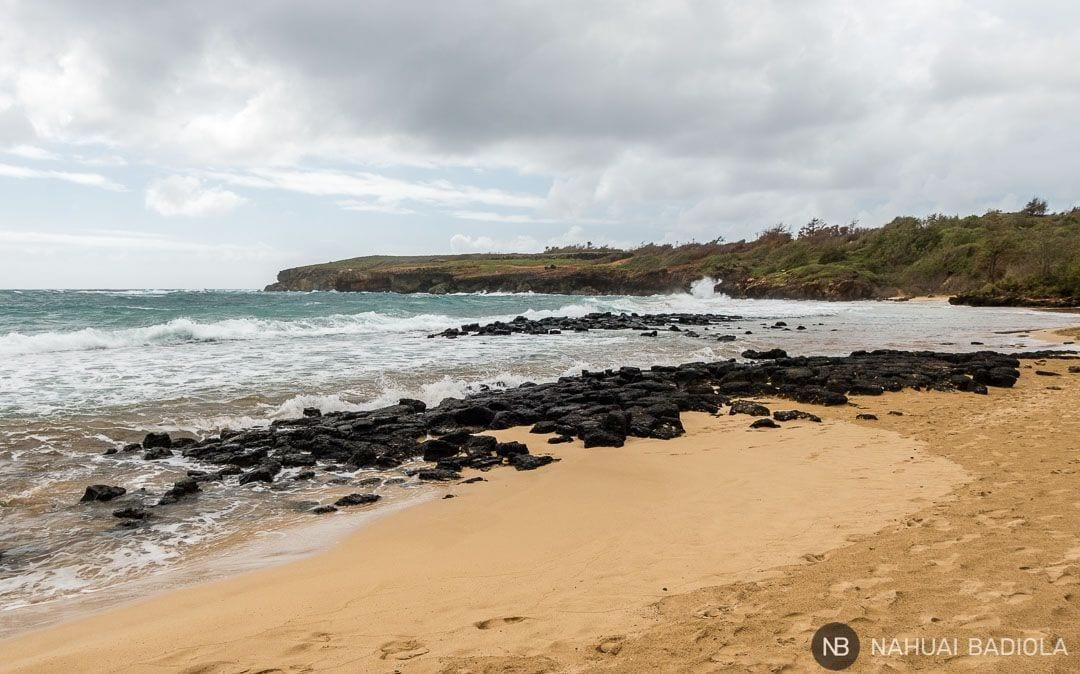 El Mahaulepu trail termina en esta playa virgen del mismo nombre. Al fondo pueden verse parte de los acantilados que caracterizan el recorrido. Kauai