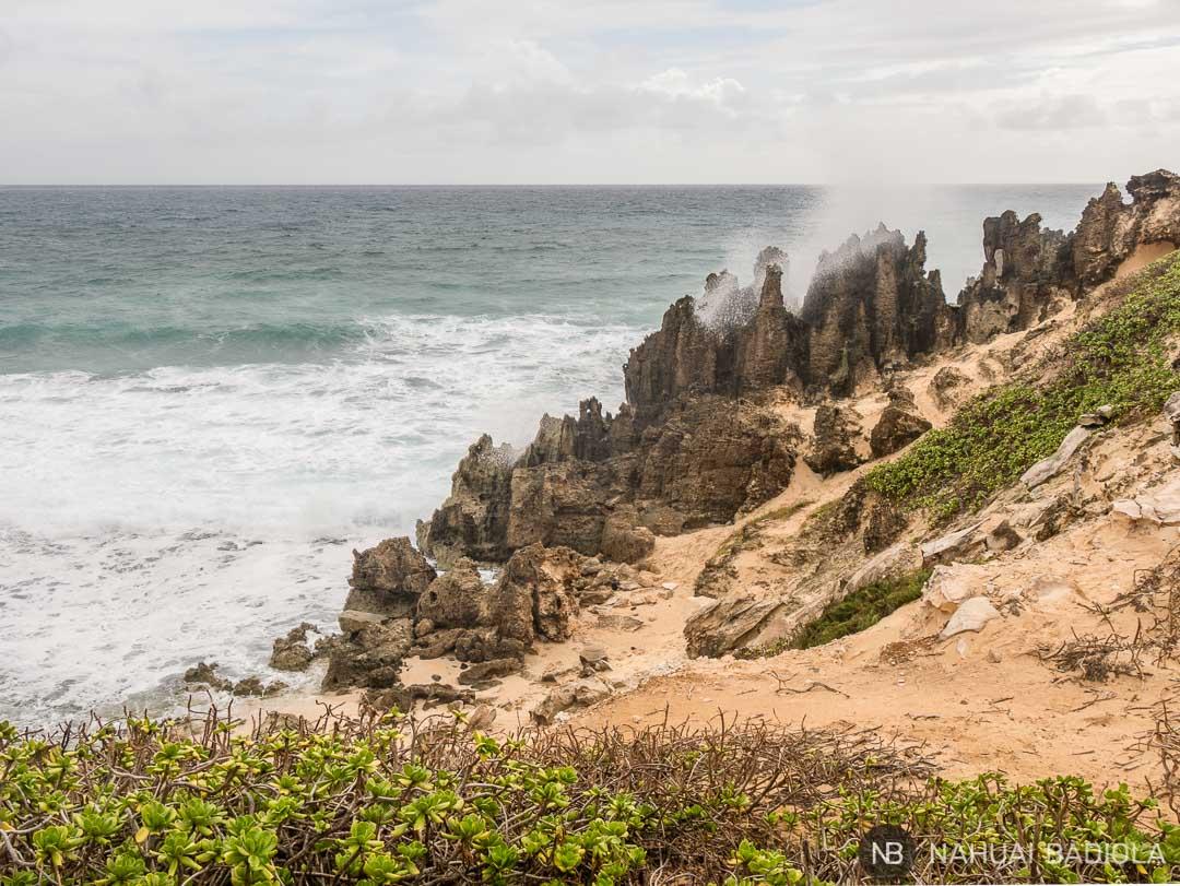 Olas chocando contra las rocas en el Mahaulepu Trail a lo largo de la costa sur virgen de Kauai, Hawaii