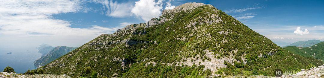 Panoramica del monte pizzi y la costa amalfitana al fondo desde Capo Muro. Circuito tre Calli.