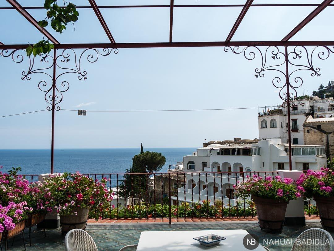 Terraza privada en las habitaciones de la casa Maresca, Positano.
