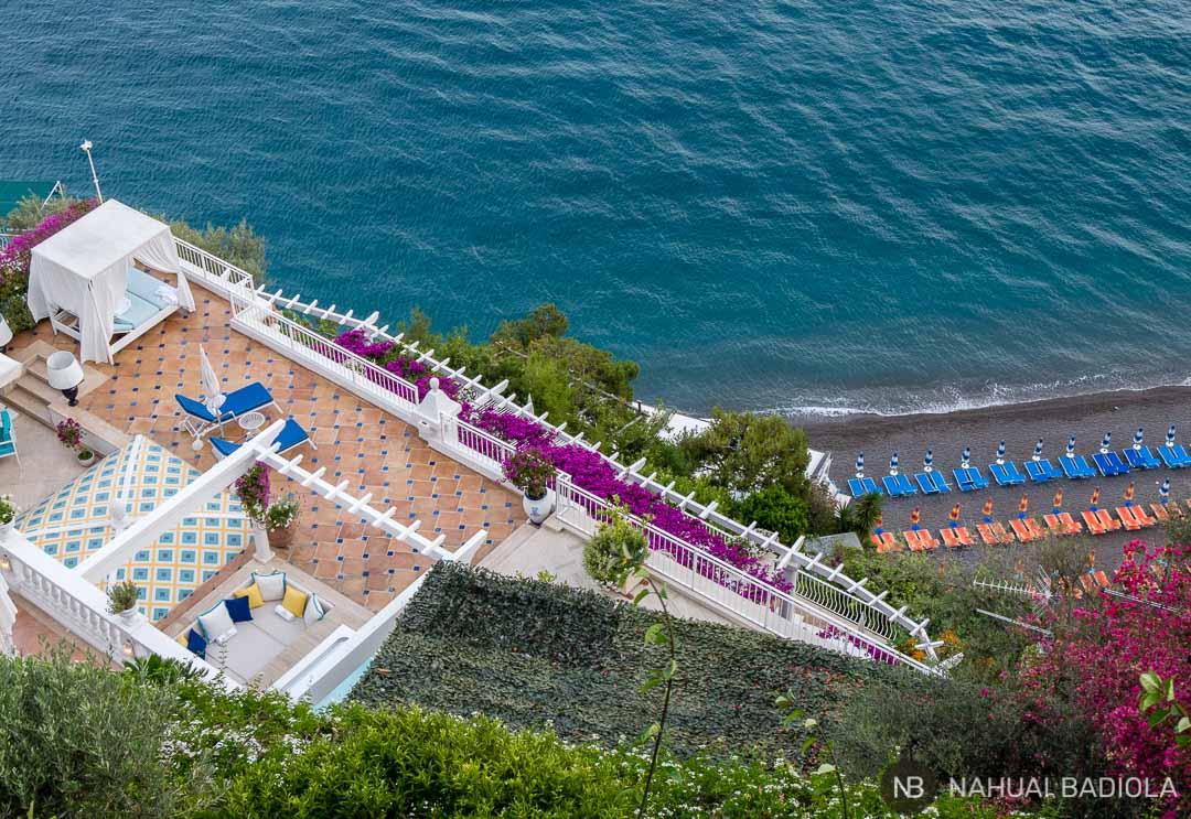 Una terraza de ensueño exclusiva sobre la playa principal de Positano