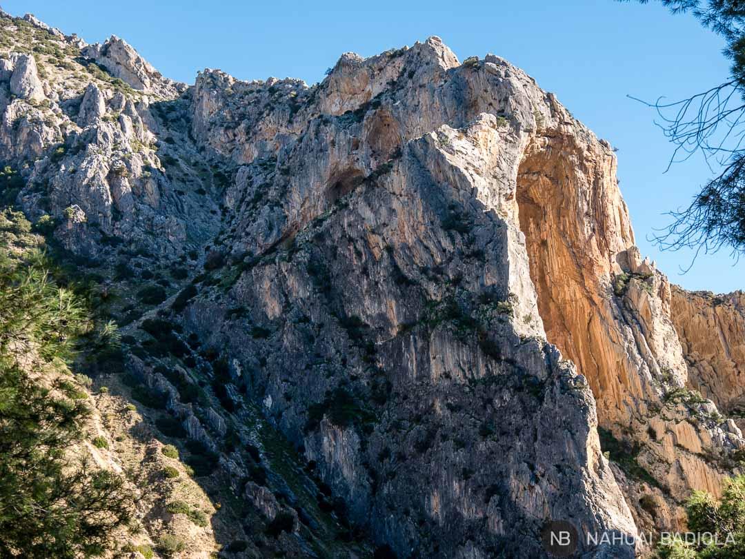 Detalle de una de las paredes de roca cerca del final del Caminito del Rey, Málaga.