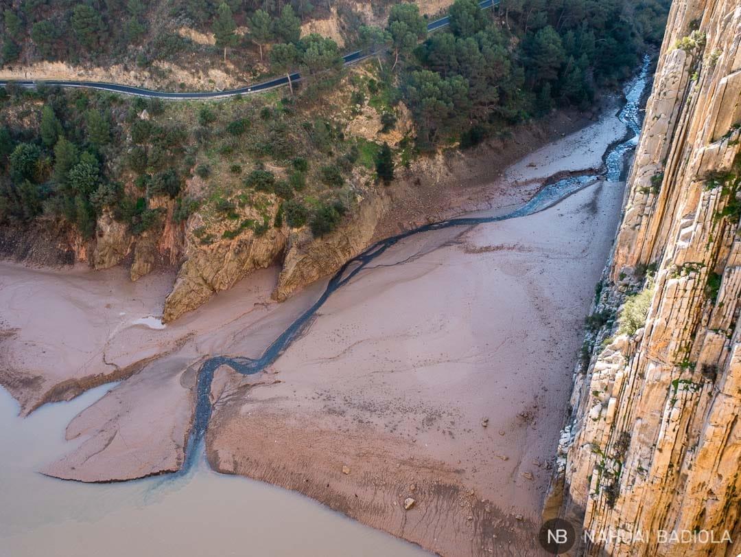 Nivel del agua al final del Caminito del Rey en Diciembre 2017.