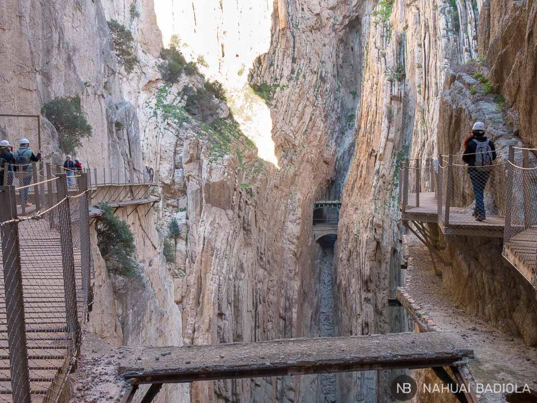 La nueva pasarela del Caminito del Rey construida a pocos metros sobre la original, Málaga.