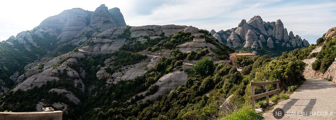 Vista del plano de las tarántulas desde el camino de servicio que baja a Sant Miquel, Montserrat