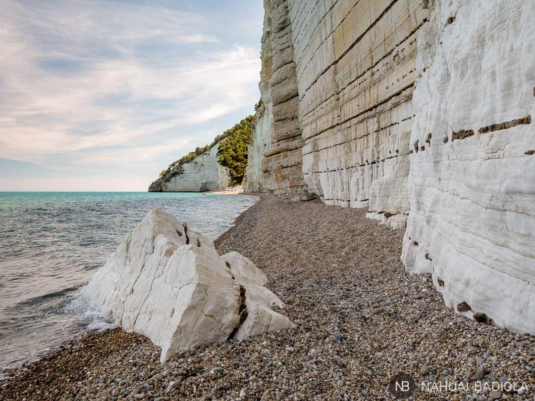 Extremo norte de la playa Vignanotica, Puglia.
