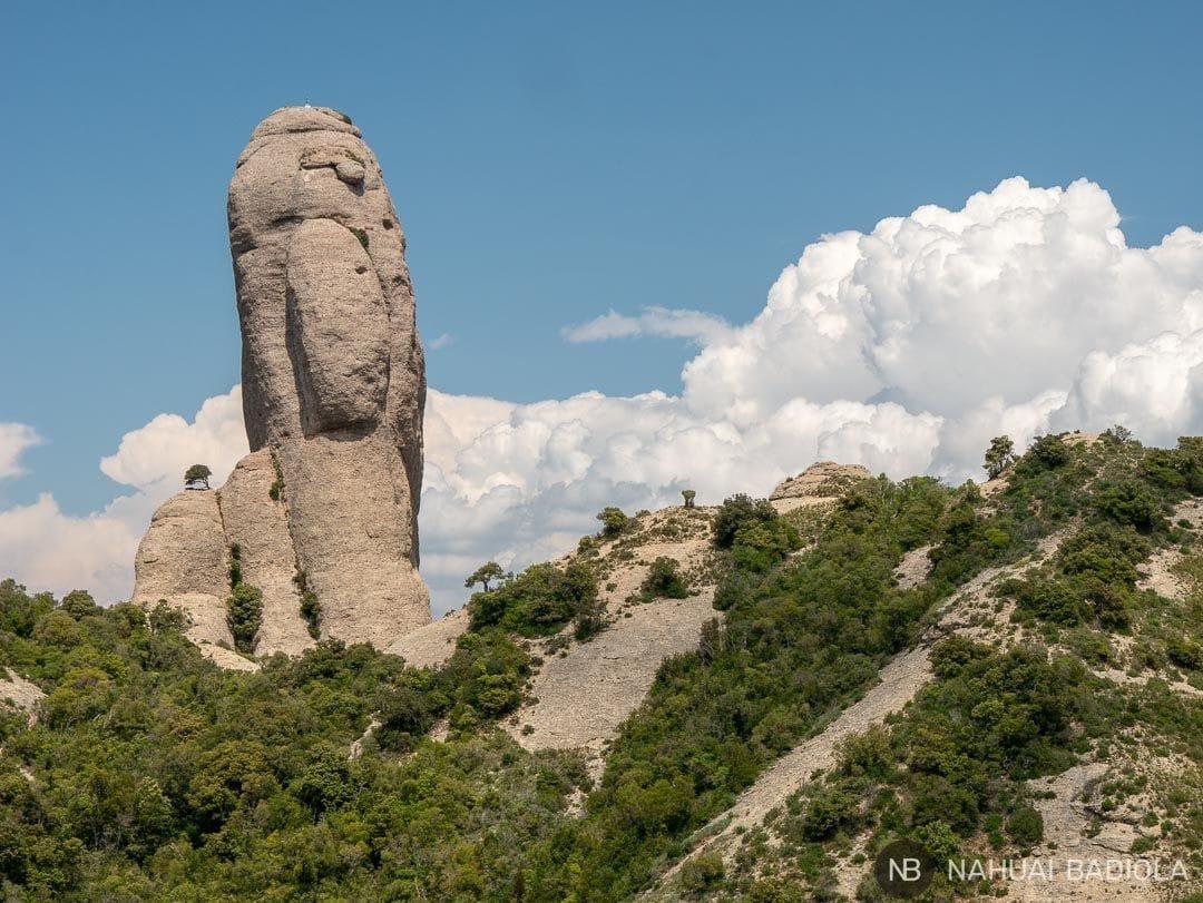 Detalle de una aguja de piedra en Montserrat