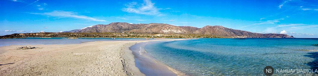Foto panorámica de la playa de Elafonisi