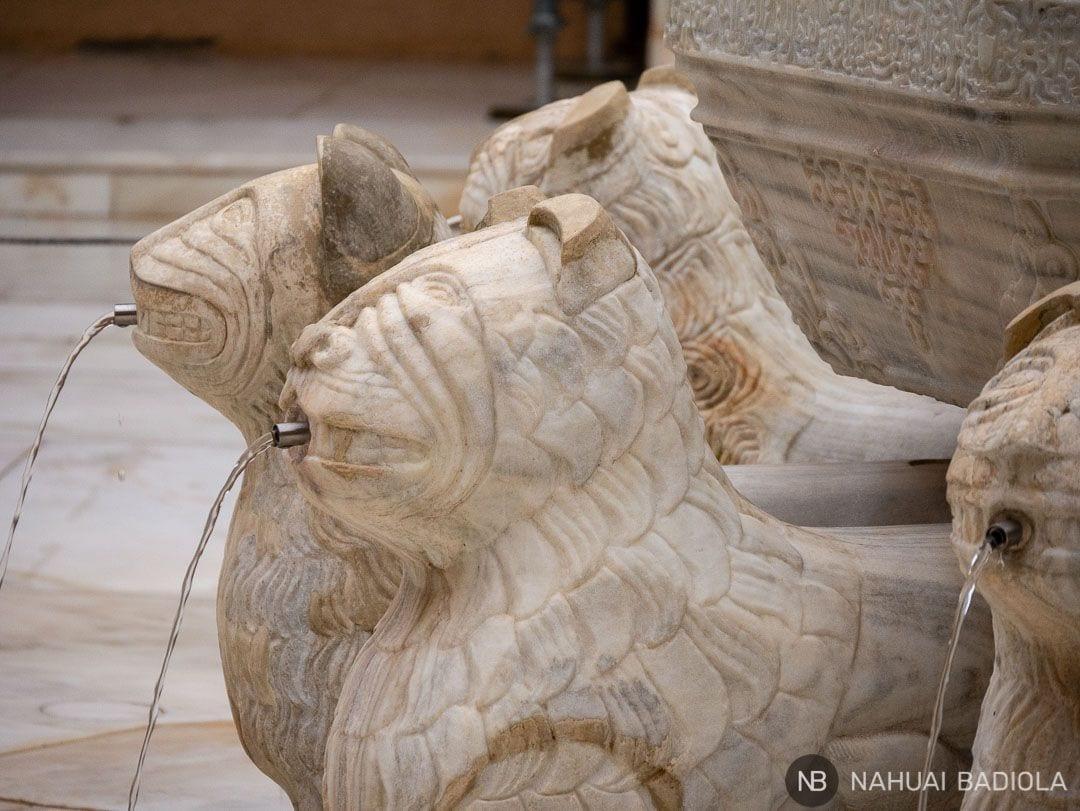 Detalle de la fuente de los leones de los Palacios Nazaríes