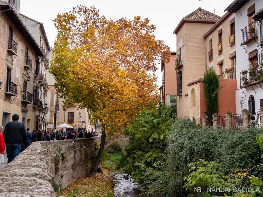Ruta por Granada, paseando por la acera del Darro.