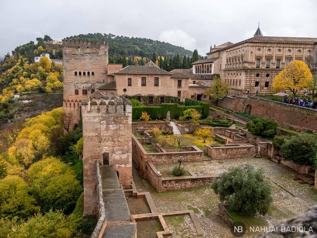 Vistas de los palacios de la Alhambra desde la Alcazaba