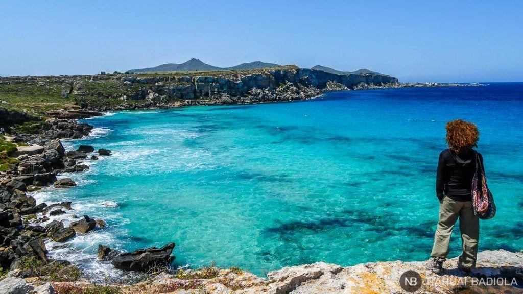 Cala Rossa en la isla Favignana, Sicilia.