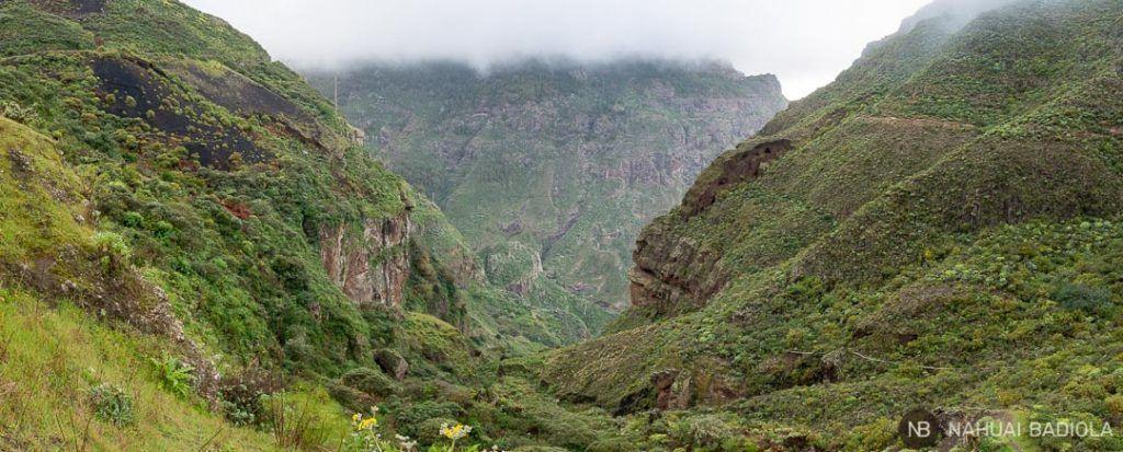 Panorámica senderismo por el barranco de Sao, Fagajesto