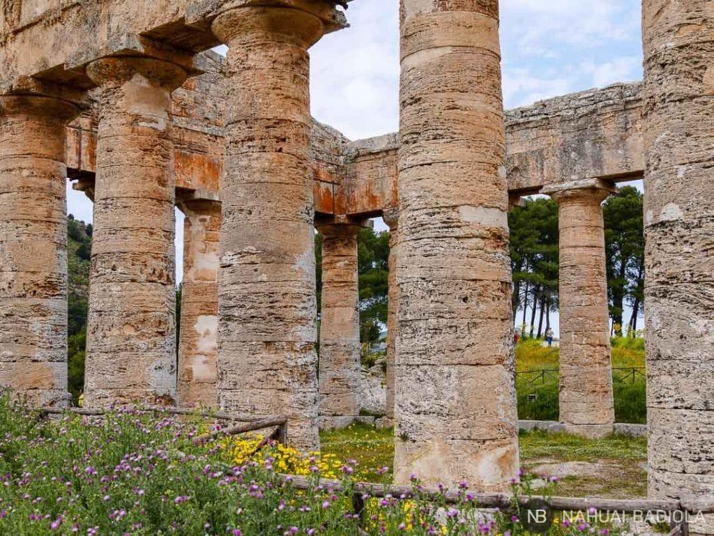 Detalle del templo de Segesta, Sicilia.