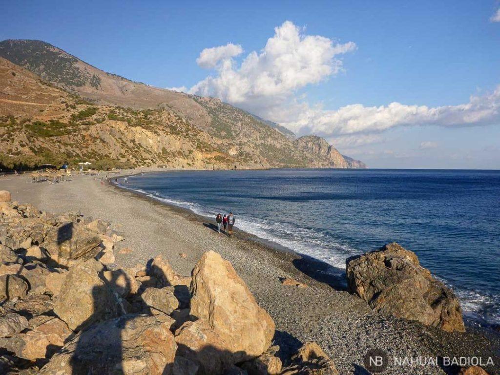 Vista de la playa de Sougia desde el muelle