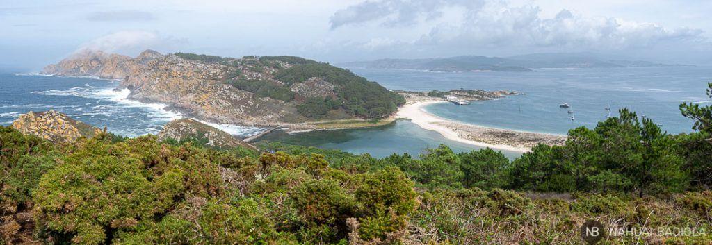 Panorámica isla norte Cíes, Galicia