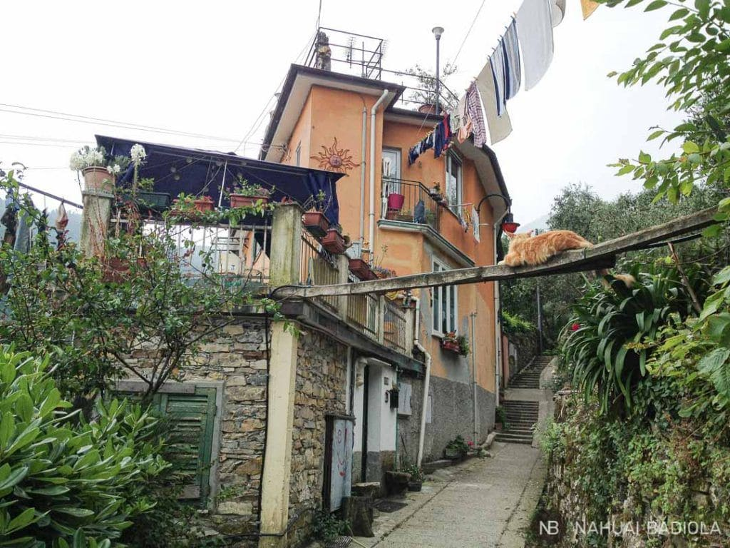 Ascenso de escaleras de Camogli a San Rocco