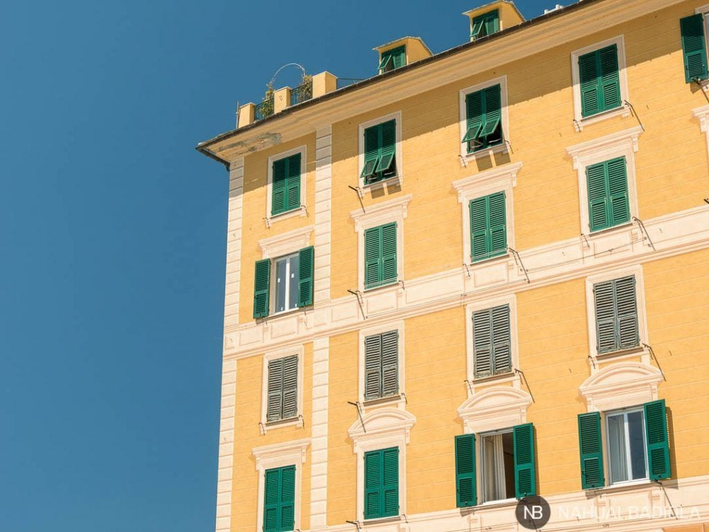 Detalle de edificio en Camogli con trampantojo