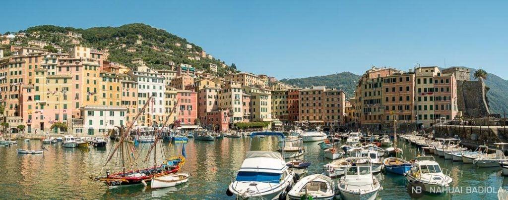 Panorámica del puerto de Camogli, Portofino, Italia